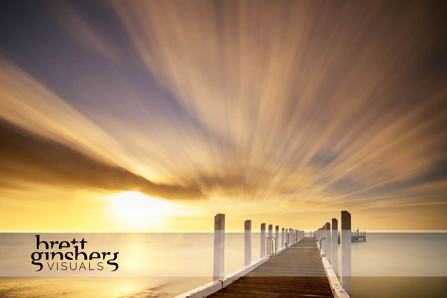 wall art of sunset with jetty