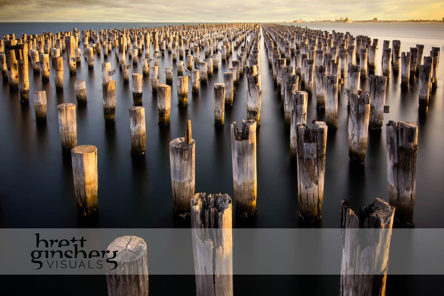 port melbourne pier at sun set