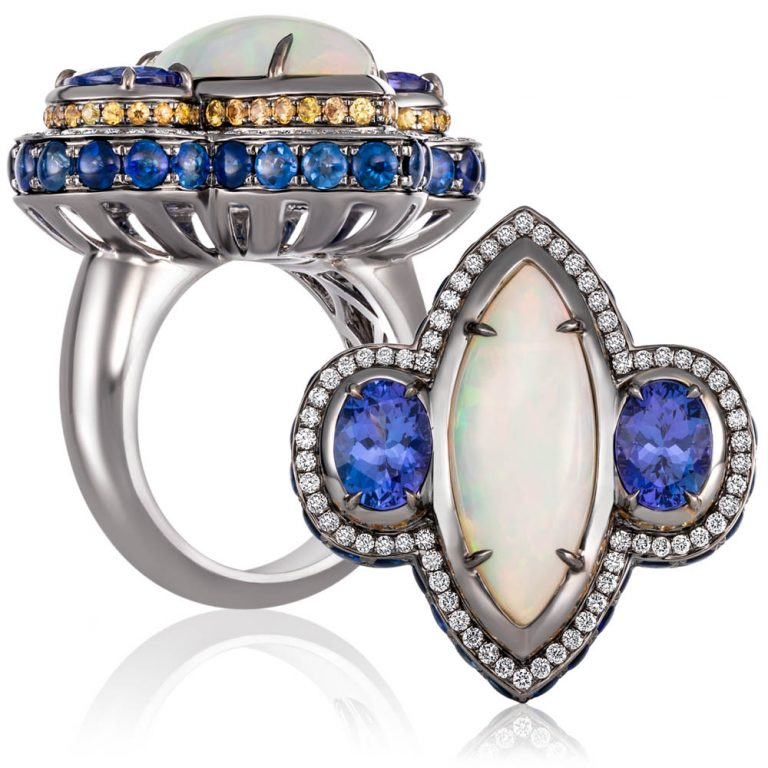jewellery photography of Ethiopian opal, tanzanites, sapphires and diamonds in 18ct white gold with grey rhodium finish