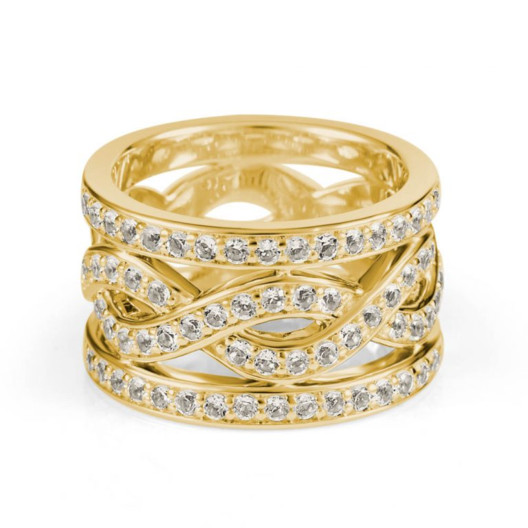 jewellery photography of yellow gold woven ring with diamonds