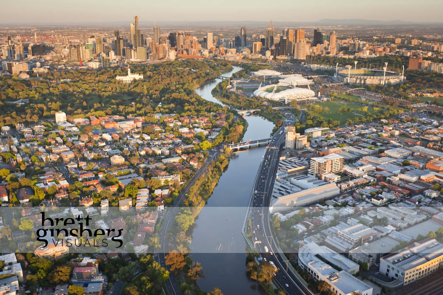 aerial drone photograph of yarra river and melbourne cbd
