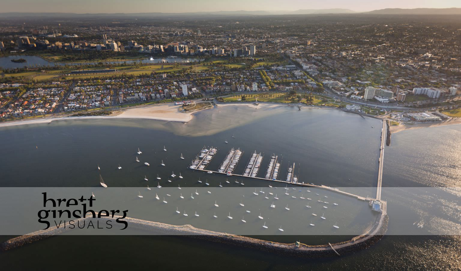 aerial drone photograph of st kila pier marina melbourne