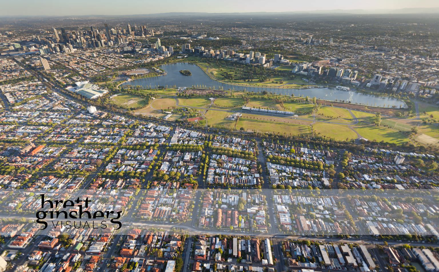 aerial drone photograph of albert park lake melbourne