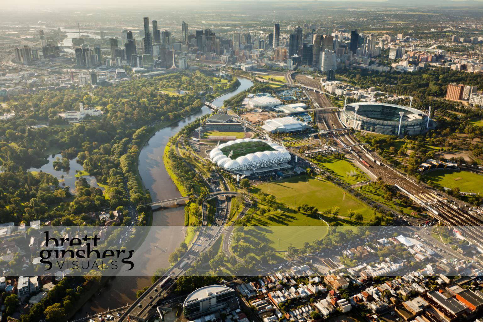 aerial drone photograph of aimee park stadium yarra river mcg melbourne