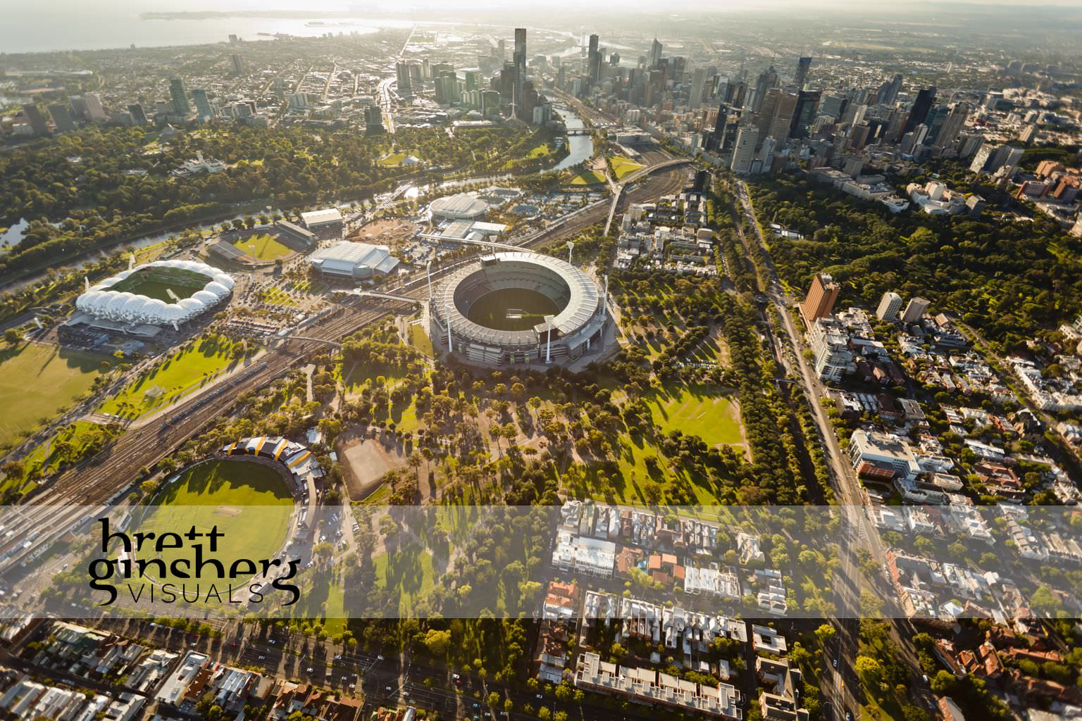 aerial drone photograph of melbourne cricket ground aimee park stadium rod laver areana