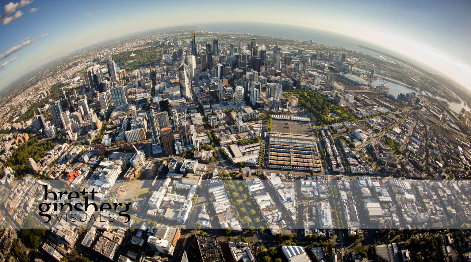 aerial drone photograph of melbourne cbd