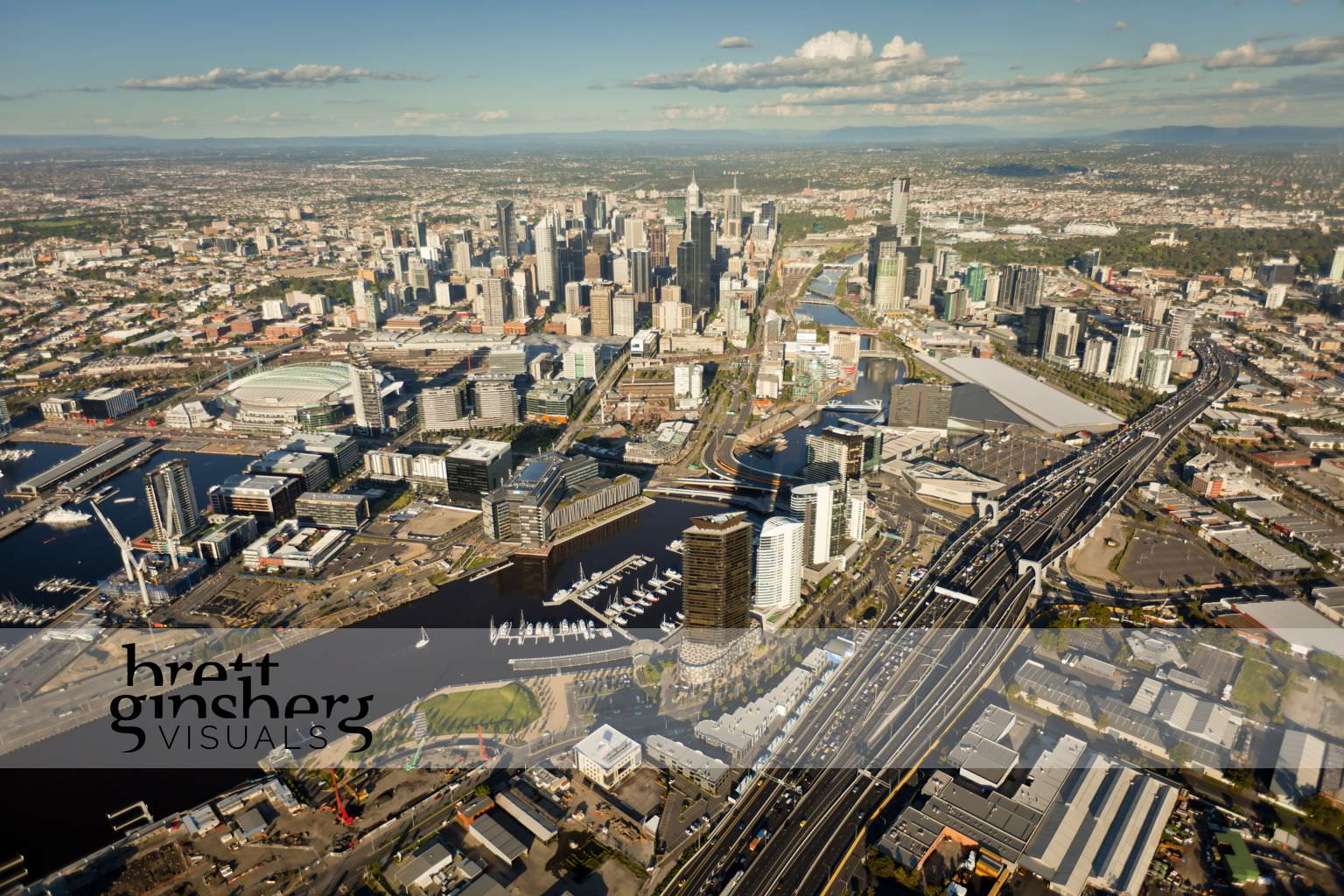 aerial drone photograph of melbourne city