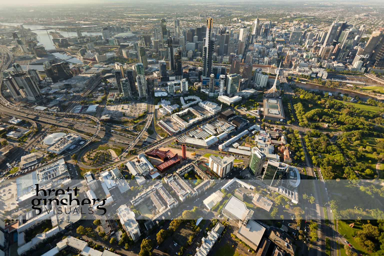aerial drone photograph of melbourne cbd skyline