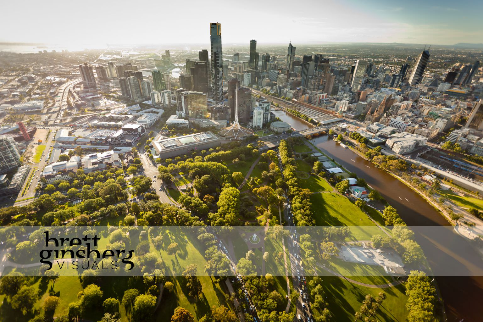 aerial drone photograph of botanical gardens arts centre national gallery victoria cbd skyline melbourne