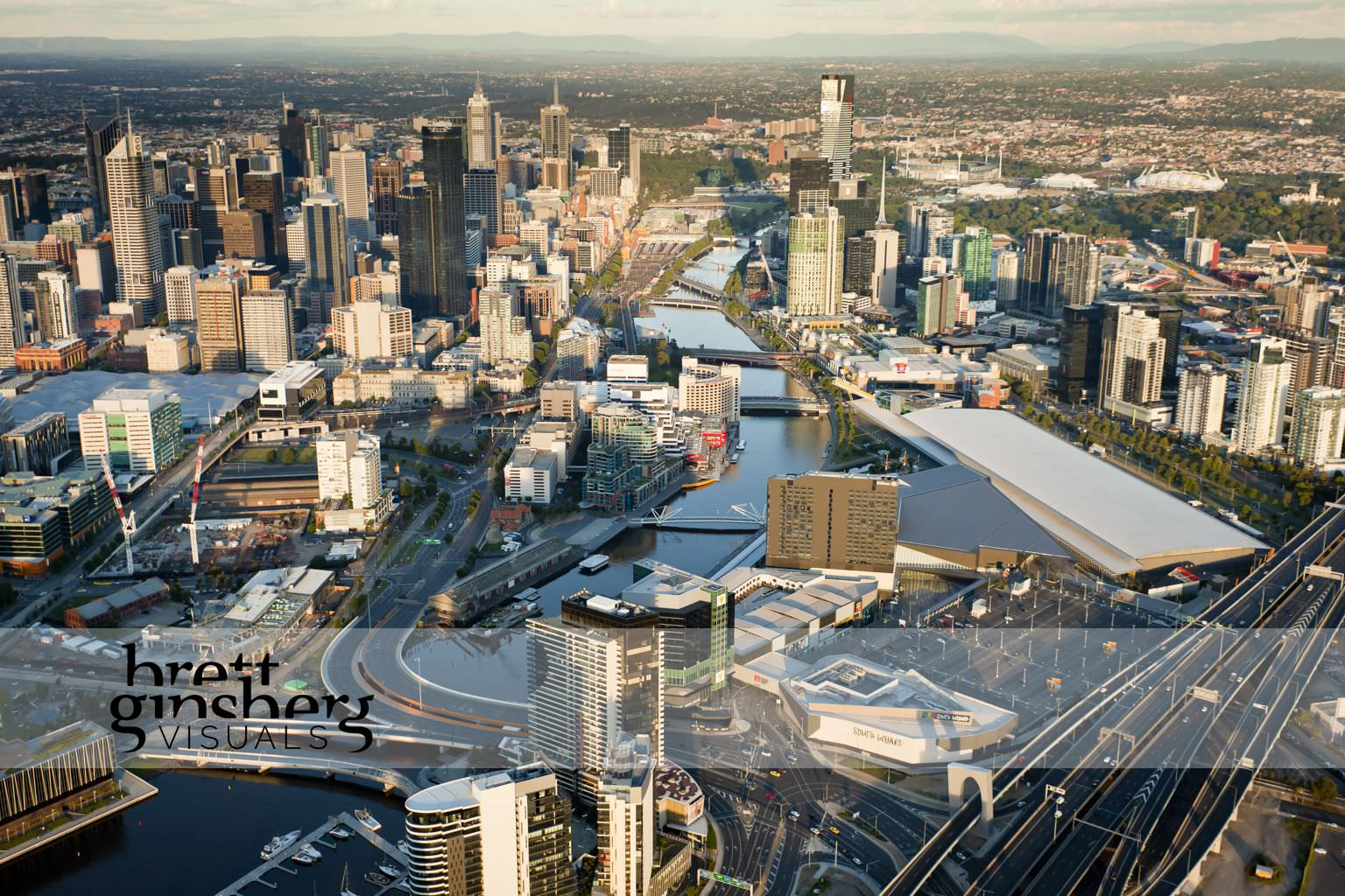 aerial drone photograph of south wharf melbourne convention centre and southbank