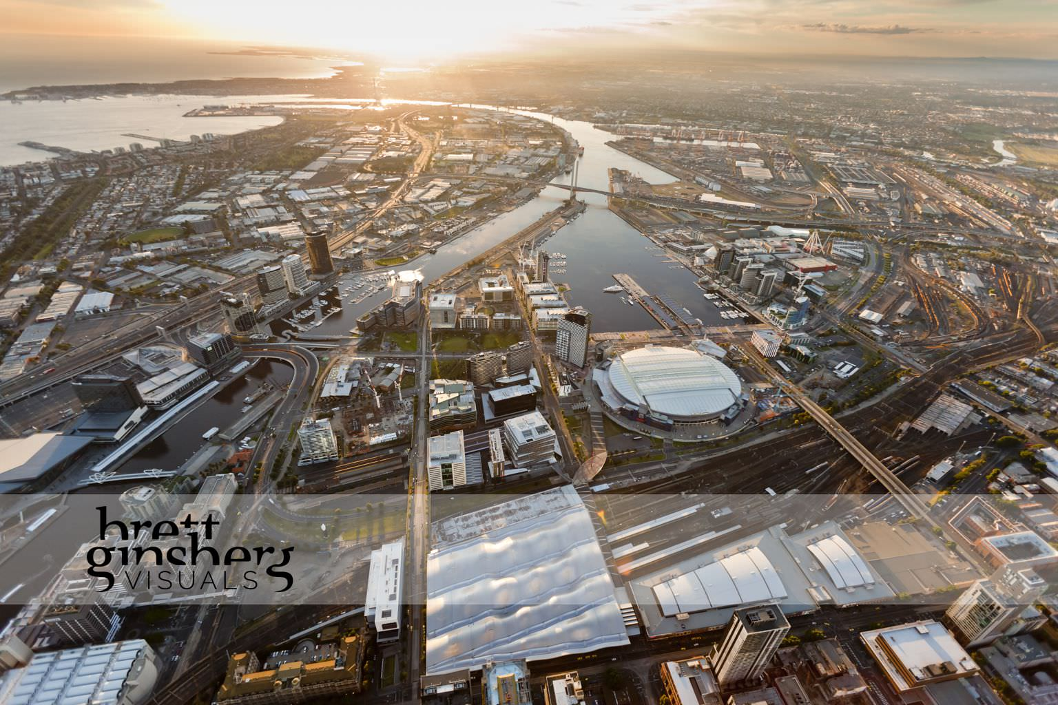 aerial drone photograph of docklands and bolte bridge melbourne