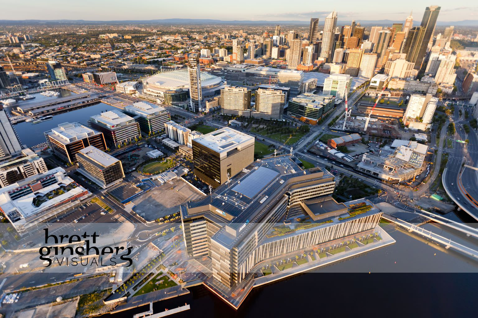aerial drone photograph of docklands cbd melbourne