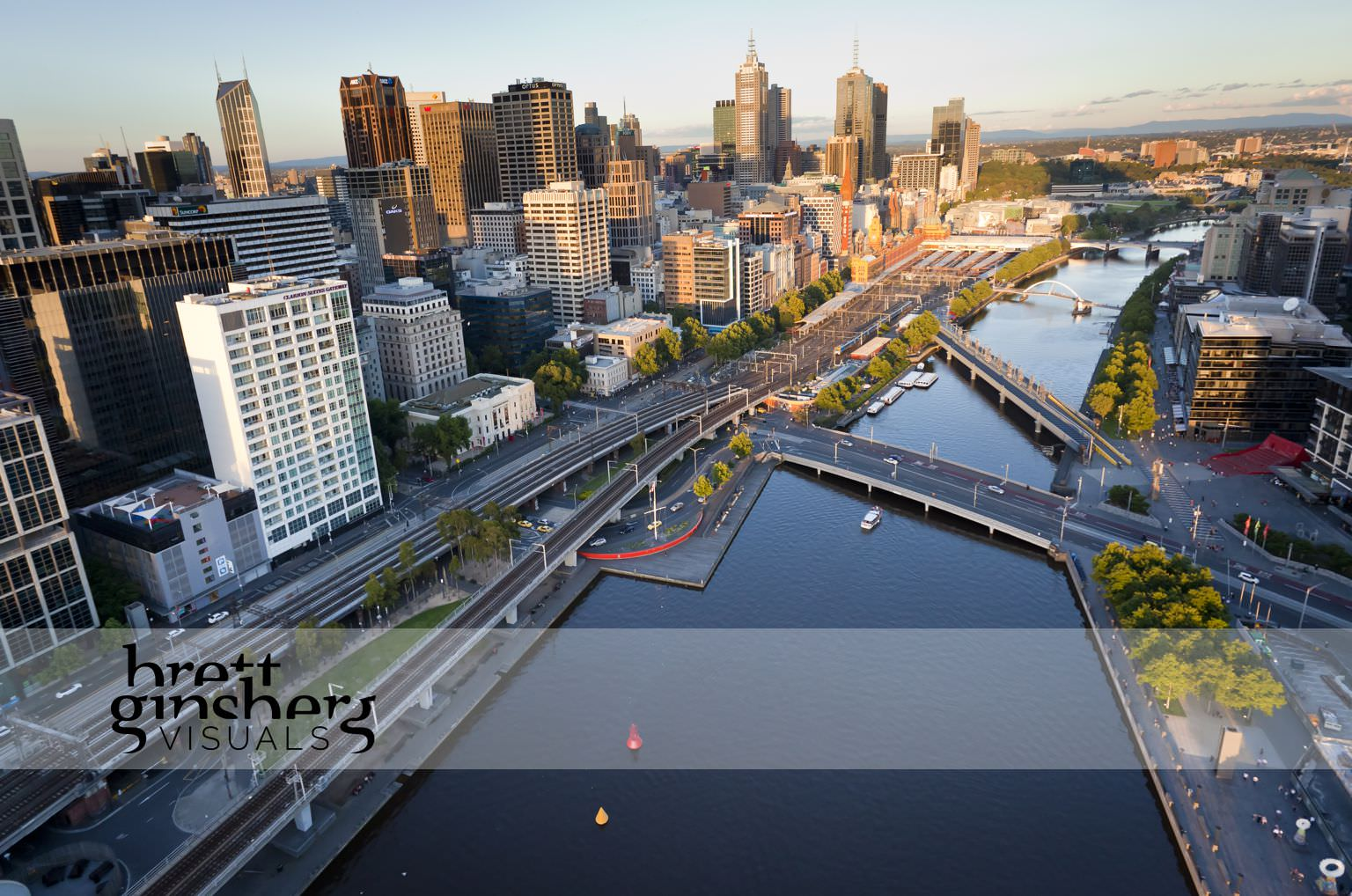 aerial drone photograph of southbank with melbourne skyline