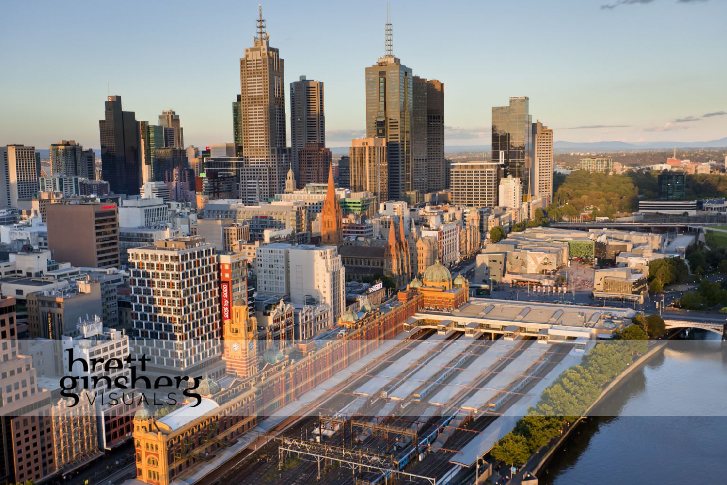 aerial drone photograph of flinders street station and city CBD melbourne