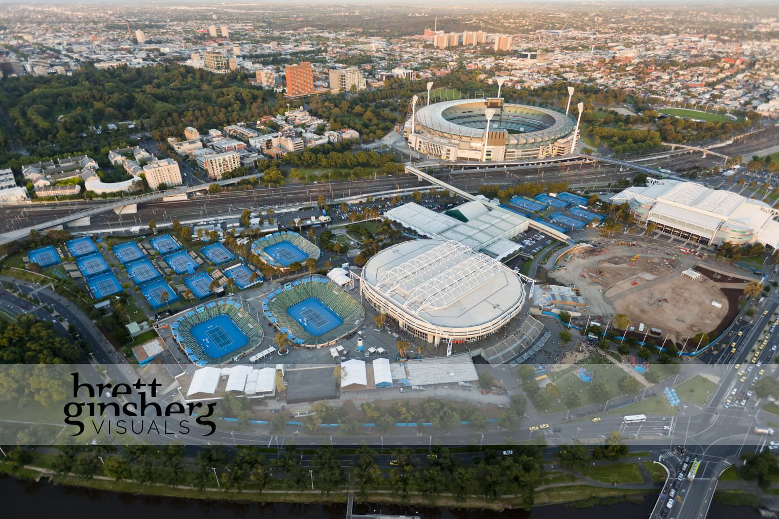 aerial drone photograph of tennis centre construction melbourne