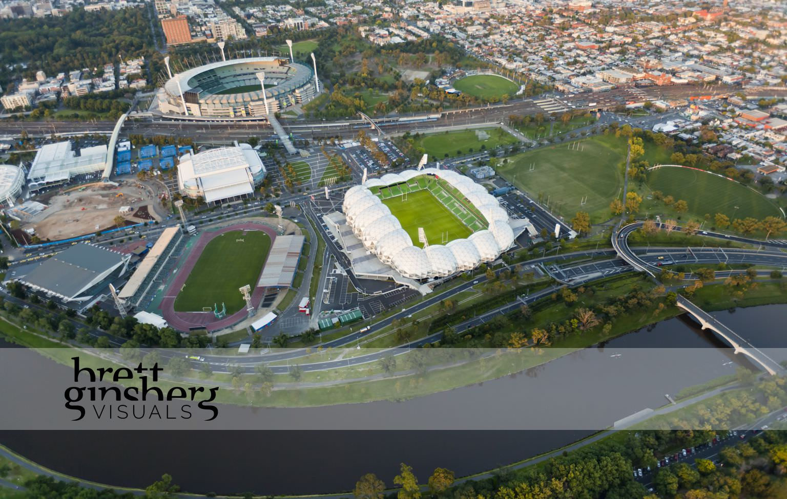 aerial drone photograph of yarra river and aimee park stadium melbourne