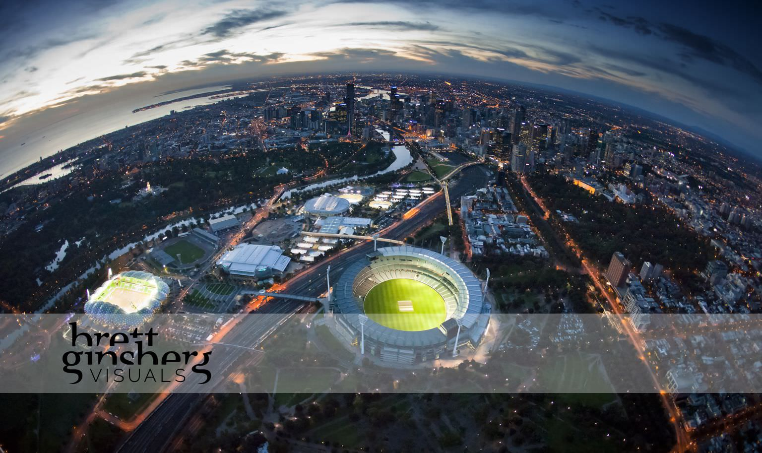 aerial drone photograph of melbourne city with MCG