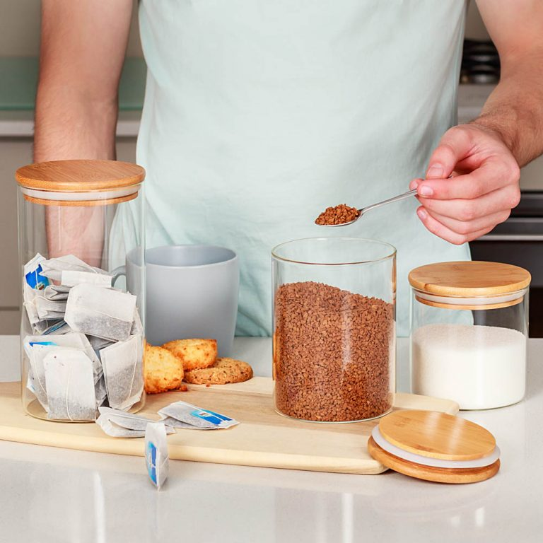 amazon photography example of lifestyle shot with glass jars containing tea and coffee in melbourne